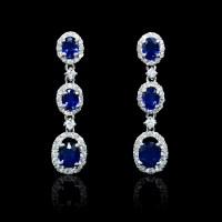 .63ct Diamond and Blue Sapphire 18k White Gold Dangle Earrings