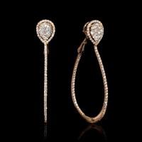 1.50ct Diamond 18k Rose Gold Hoop Earrings