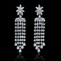 10.13ct Diamond 18k White Gold Chandelier Earrings