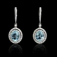 .70ct Diamond Aquamarine 18k White Gold Dangle Earrings