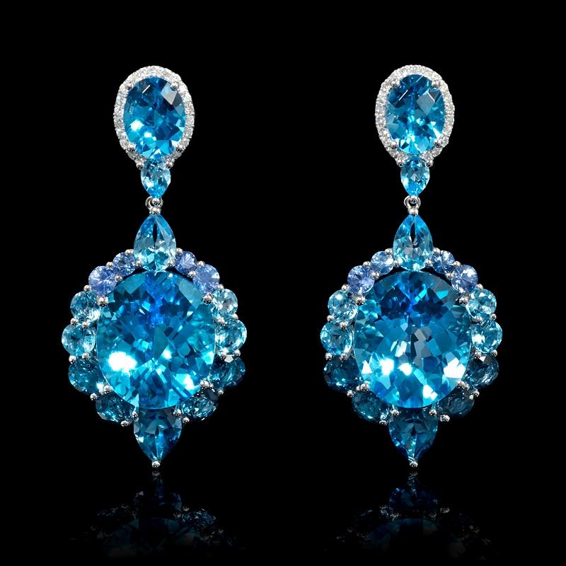.23ct Diamond Blue Sapphire and Blue Topaz 18k White Gold