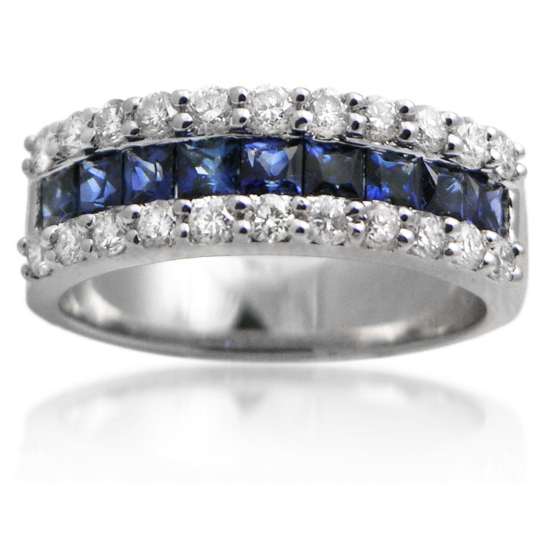 72ct Diamond Amp Blue Sapphire 18k White Gold Wedding Band Ring