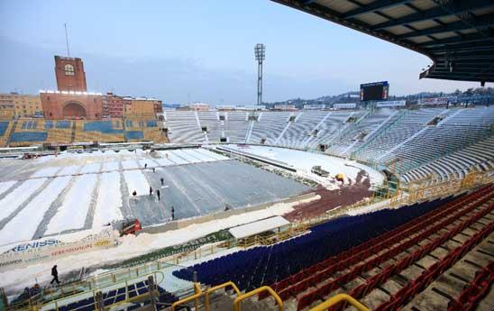 Lo stadio Dall'Ara non è nuovo a nevicate