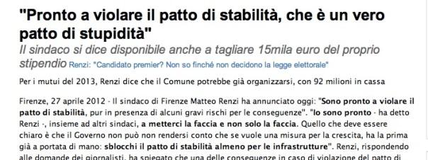 Le parole di Renzi riportate dalla Nazione del 27 aprile 2012