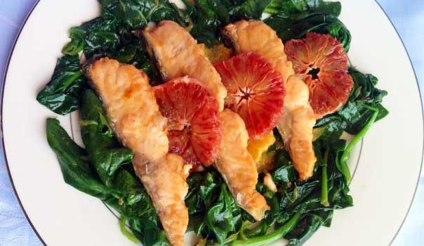 Tagliata di salmone alle arance rosse