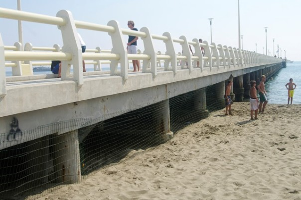 Via la rete metallica anti vu cumprà dal pontile di Forte dei Marmi