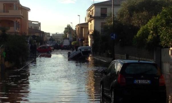 Un'immagine dei danni dell'alluvione in Sardegna