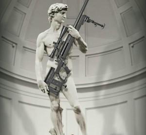 Il David di Michelangelo nella campagna pubblicitaria della fabbrica d'armi statunitense
