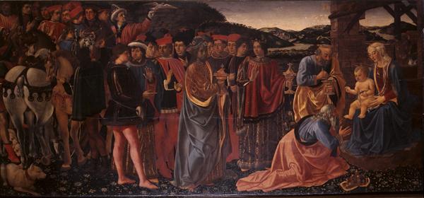 Cosimo Rosselli, Adorazione dei magi, tempera grassa su tavola, cm 101 x 2017.