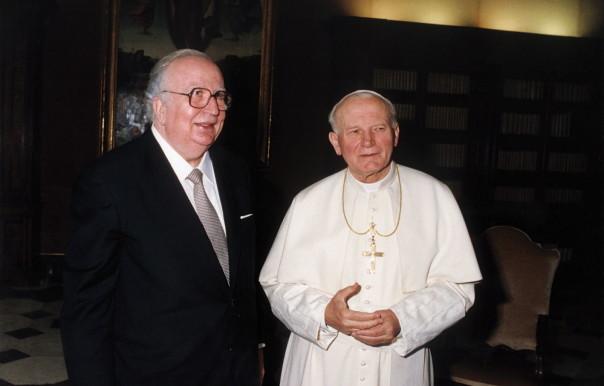 Giovanni Spadolini con il Papa, Giovanni Paolo II