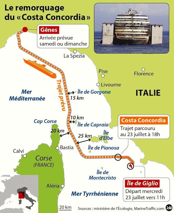 La rotta della Concordia verso Genova (pubblicata da Corsematin.com)