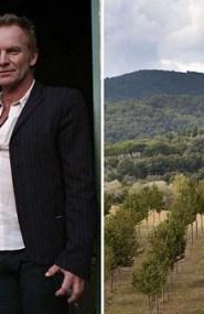 Il cantante Sting con la moglie. A destra la tenuta a Figline
