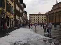 Piazza San Lorenzo dopo la grandinata