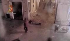La scena dell'aggressione la notte del 13 aprile 2014