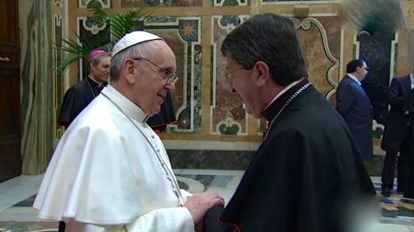 Papa Francesco con il  cardinale Giuseppe Betori, arcivescovo di Firenze