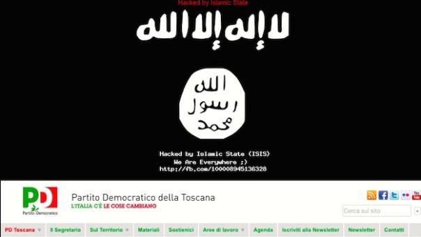La bandiera dell'Isis è apparsa sul sito web del Pd della Toscana