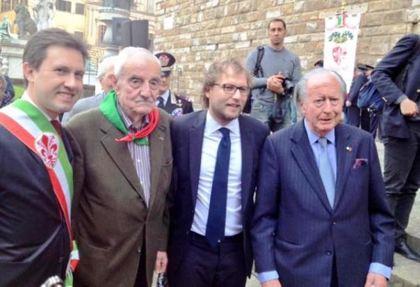 Firenze, 25 arile 2015, 70° della Liberazione da sin. Nardella, Sarti, Lotti, Walters Churchill