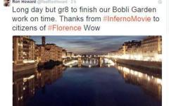 Firenze, film «Inferno»: ultimi ciak. E Ron Howard su Twitter ringrazia la città
