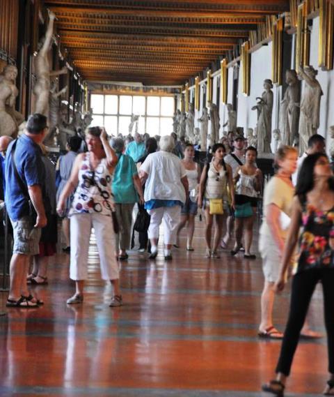 La visitatissima Galleria degli Uffizi