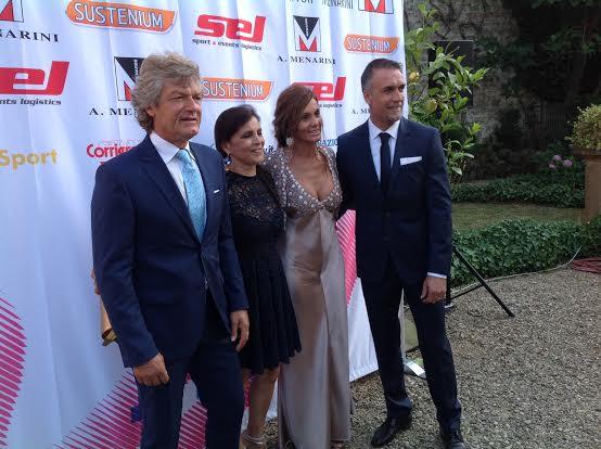 Giancarlo Antognoni, con la moglie Rita e Gabriel Batistuta con la moglie Irina