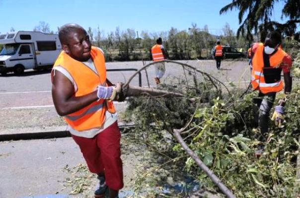 Migranti e profughi al lavoro per ripulire Firenze dopo il nubifragio (foto Twitter - Erasmo D'Angelis)