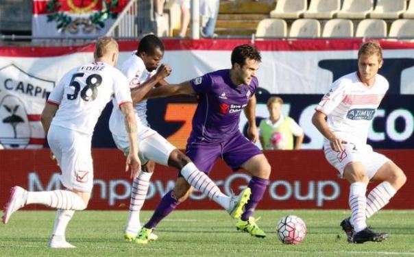 Carpi-Fiorentina, Pepito Rossi in azione