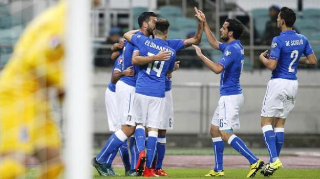 Azerbaijan-Italia, l'esultanza degli Azzurri