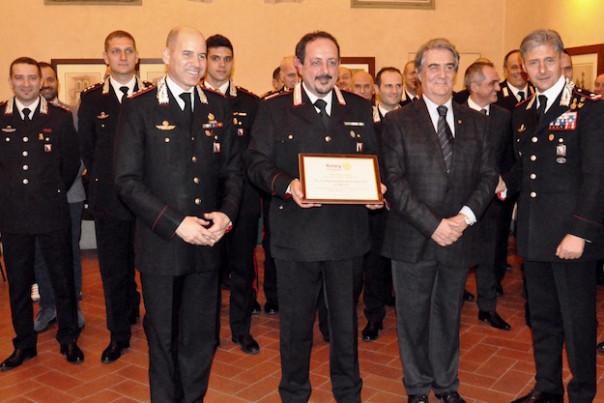 da sin. il colonnello Lorenzoni, il luogotenente Raciti, il presidente Santoro e il generale Saltalamacchia