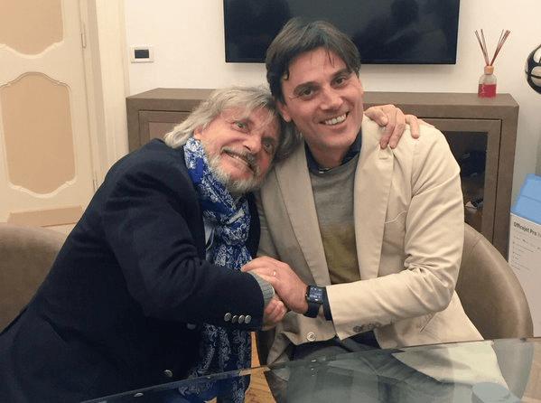 Vincenzo Montella, ex allenatore viola, abbracciato dal presidente della Sampdoria, Massimo Ferrero