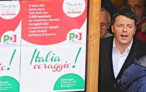 Il premier Matteo Renzi al banchetto del PD a Rignano sull'Arno