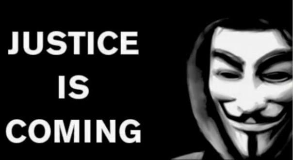 Justice in coming, un'immagine tratta dal profilo Facebook ufficiale di Anonymous Italia