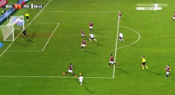 Bologna-Fiorentina, il vantaggio viola di Bernardeschi su assist di Tello (foto Twitter @Sport_Mediaset)
