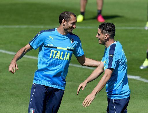 Chiellini e Florenzi, durante l'allenamento a Montpellier