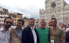 Il sindaco Dario Nardella, insieme a Luigi Brugnaro, sindaco di Venezia, e ai presidenti delle squadre