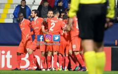 L'esultanza dei giocatori della Fiorentina per una vittoria che fa morale