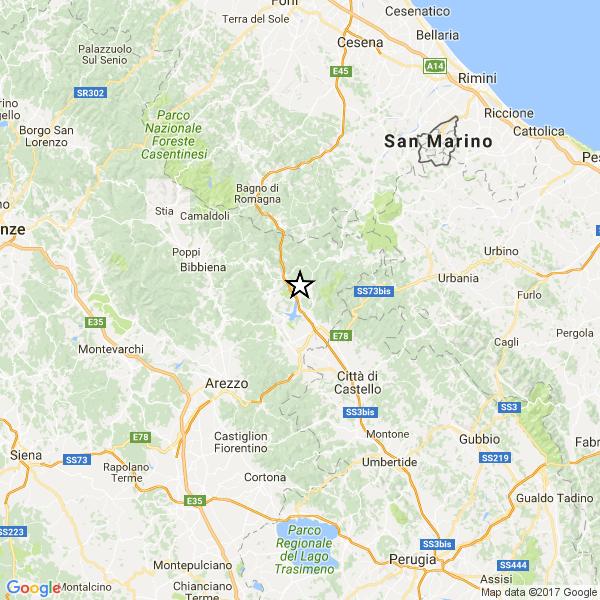 Ancora terremoto, lievi scosse a Pieve Santo Stefano: 2,7 la più forte