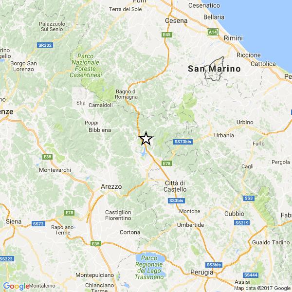 Toscana, cinque lievi scosse di terremoto nell'aretino