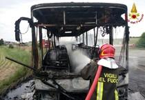 Rosignano (Livorno): bus distrutto da un incendio. Autista e passeggero salvi per miracolo