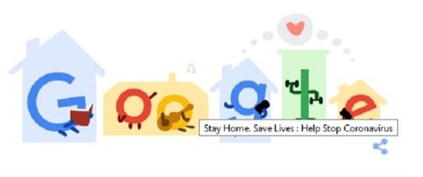 coronavirus  il doodle di google  state a casa