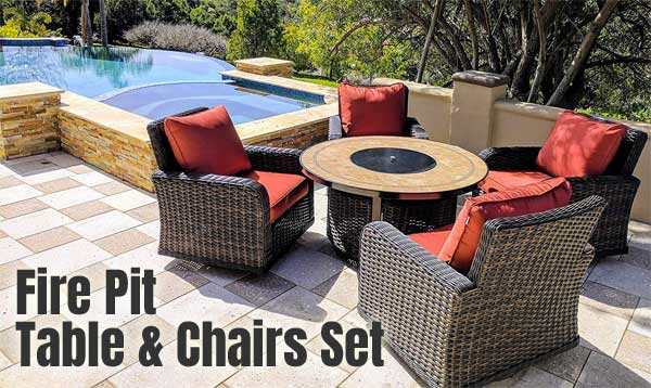 fire pit table and chairs set 4 big