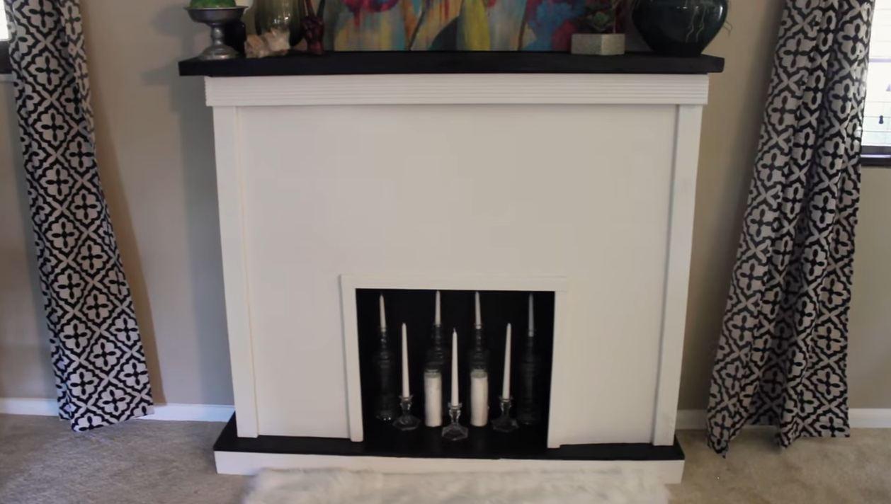 fake wood fireplace