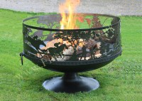 Fire Pit Sporting Scene 80 with Pedestal Base   Firepits UK