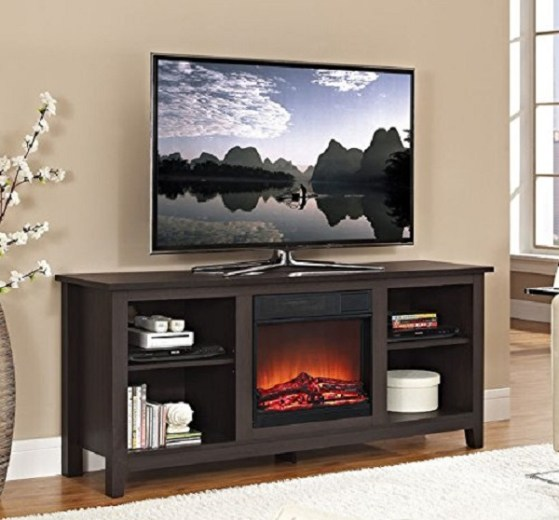 """Walker Edison 58"""" Wood TV Stand with Fireplace in Espresso Review"""