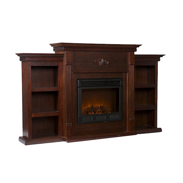 Best Electric Fireplace TV Stand: SEI Tennyson Electric Fireplace with Bookcases