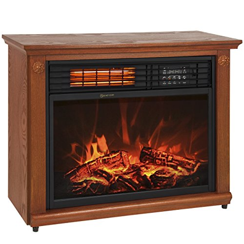 best electric fireplace heater reviews -Best Choice Products Large Room Infrared Quartz Electric Fireplace Heater Honey Oak Finish