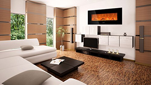 Best wall mount electric fireplace - Ivation 50 inch Wall Mounted Glass Electric Fireplace