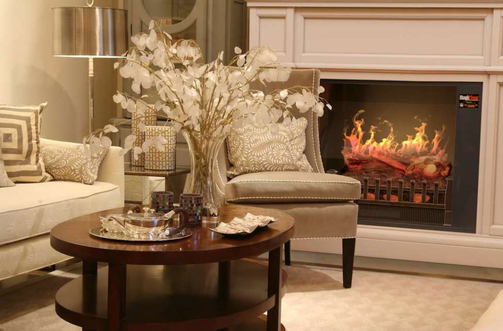 """Appearance of the MagikFlame 28"""" HoloFlame Artemis Wall Mantel Electric Fireplace"""