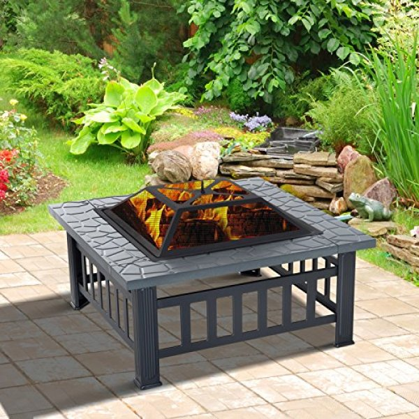 Compare Outsunny Square Outdoor Patio vs F2C Outdoor Hex Shape Fireplace Patio