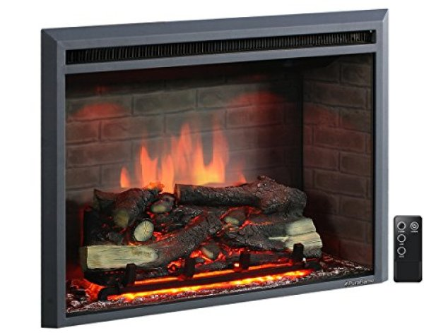 "Compare PuraFlame 33"" Western Electric Fireplace vs. ClassicFlame 36HF320FGT Helen Wall Mounted Electric Fireplace"