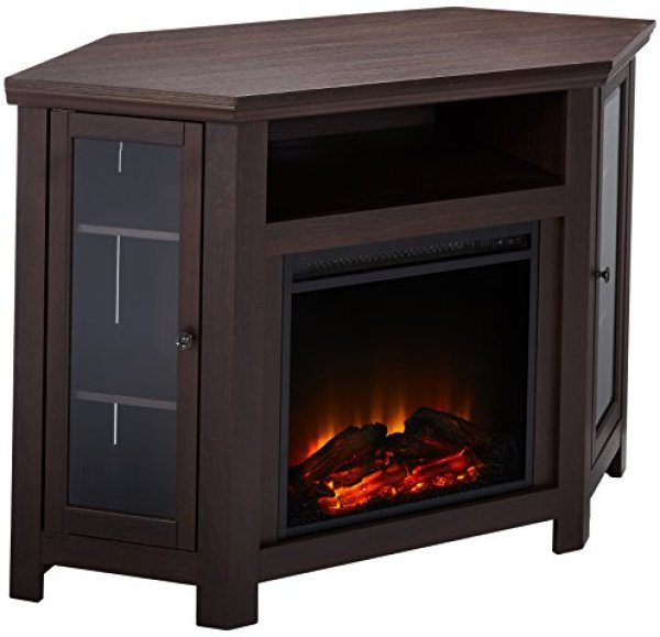 Compare WE Furniture Corner Fireplace TV Stand vs. Ameriwood Home Overland Corner Electric Fireplace TV Stand